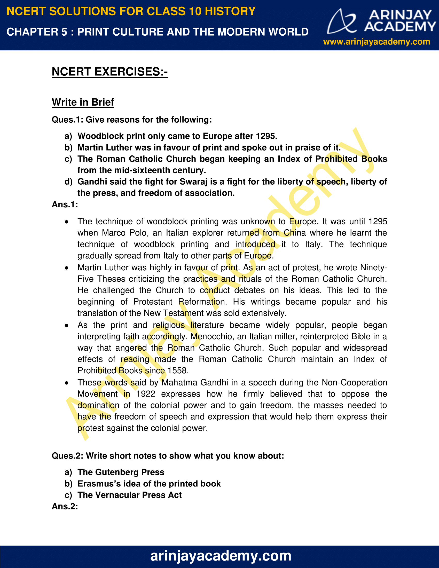 NCERT Solutions for Class 10 History Chapter 5 - Print Culture and the Modern World image 1
