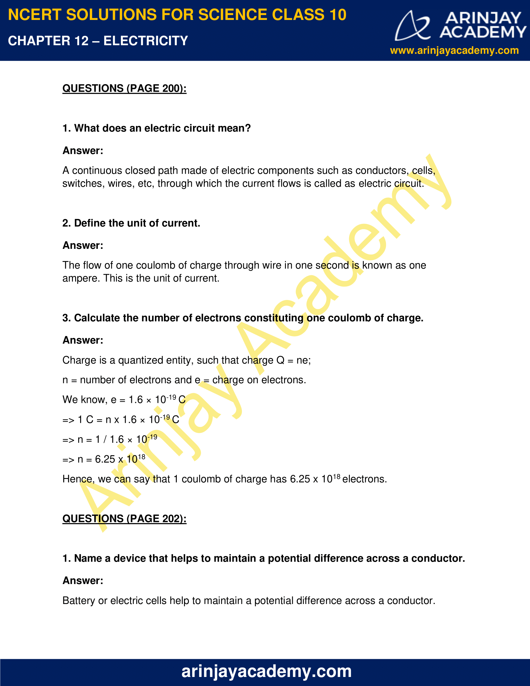 NCERT Solutions for Class 10 Science Chapter 12 Electricity image 1