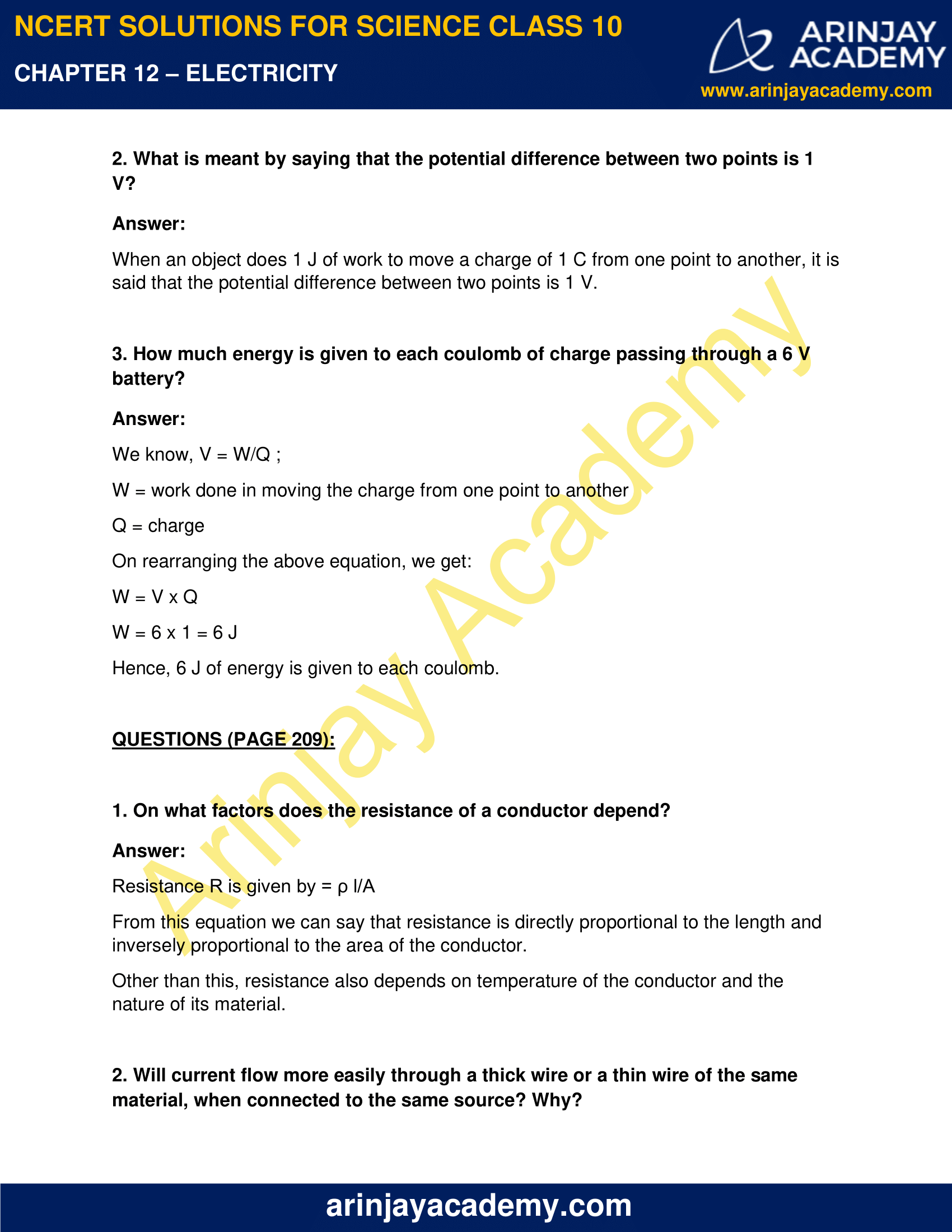 NCERT Solutions for Class 10 Science Chapter 12 Electricity image 2