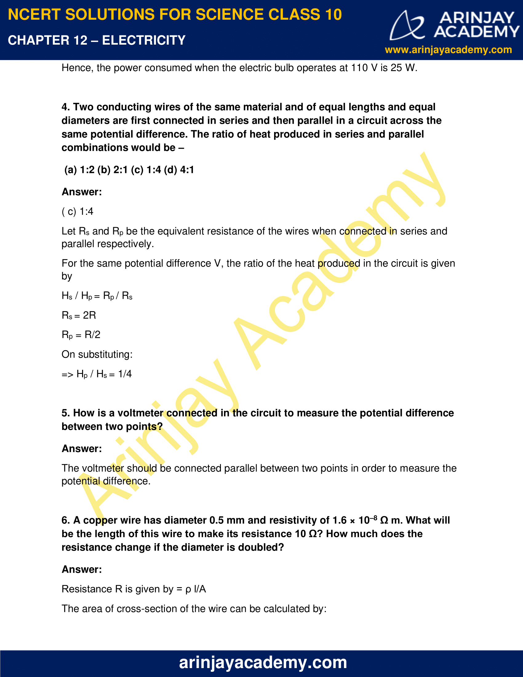 NCERT Solutions for Class 10 Science Chapter 12 Electricity image 14