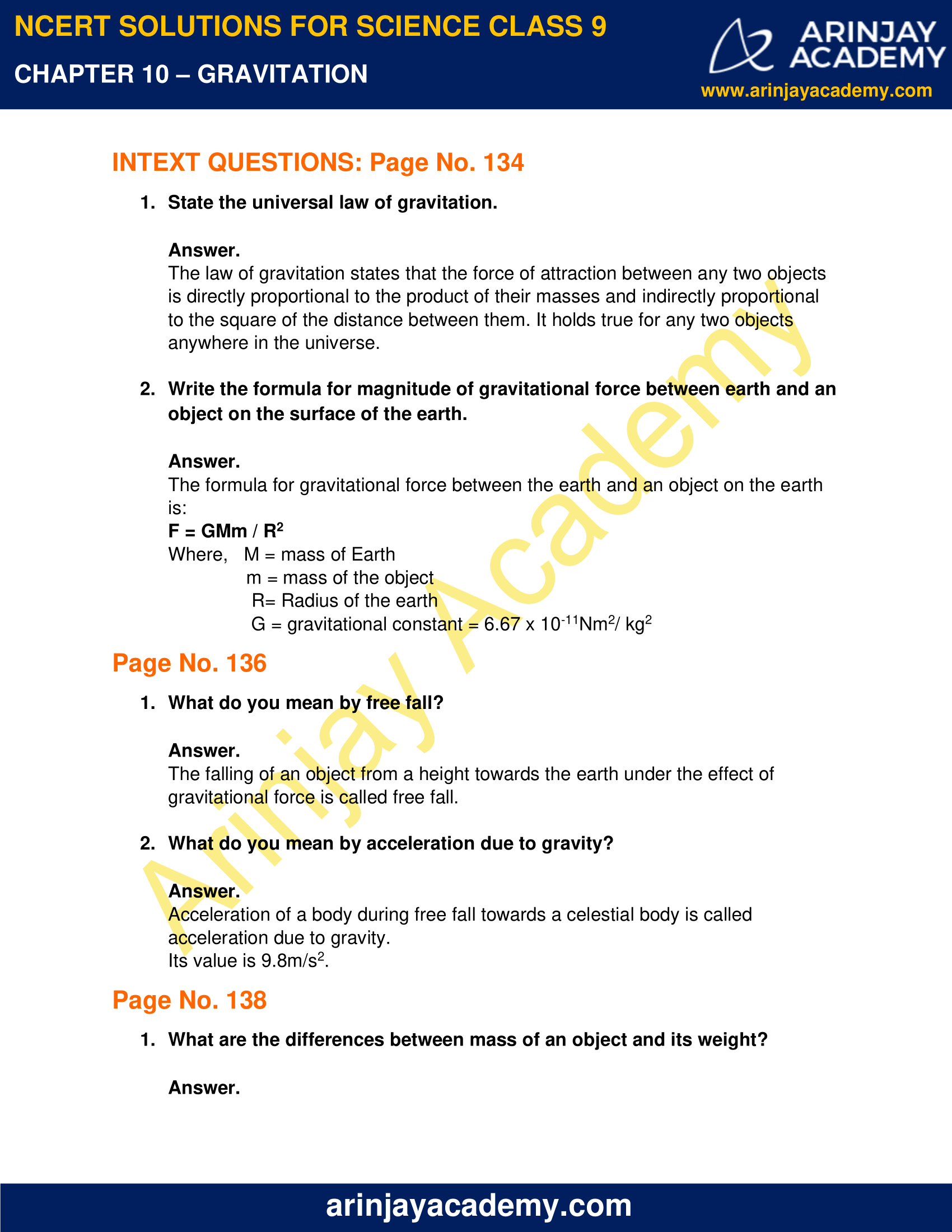 NCERT Solutions for Class 9 Science Chapter 10 Gravitation image 1