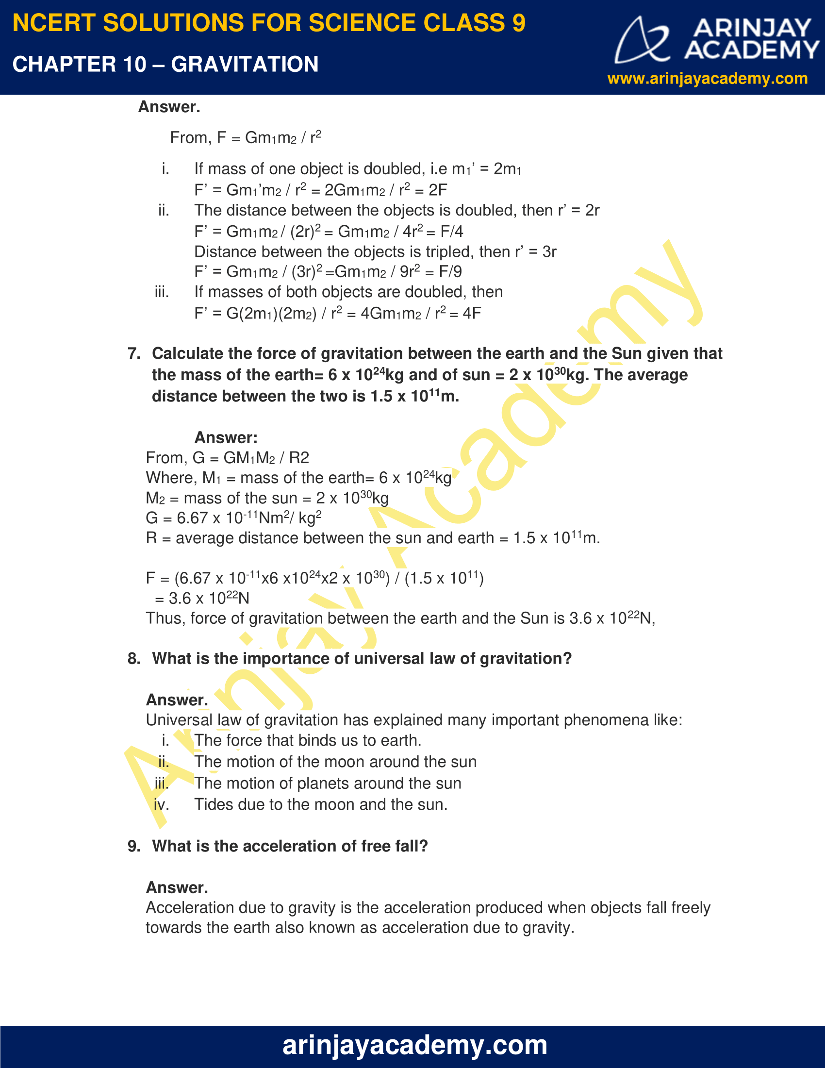 NCERT Solutions for Class 9 Science Chapter 10 Gravitation image 5