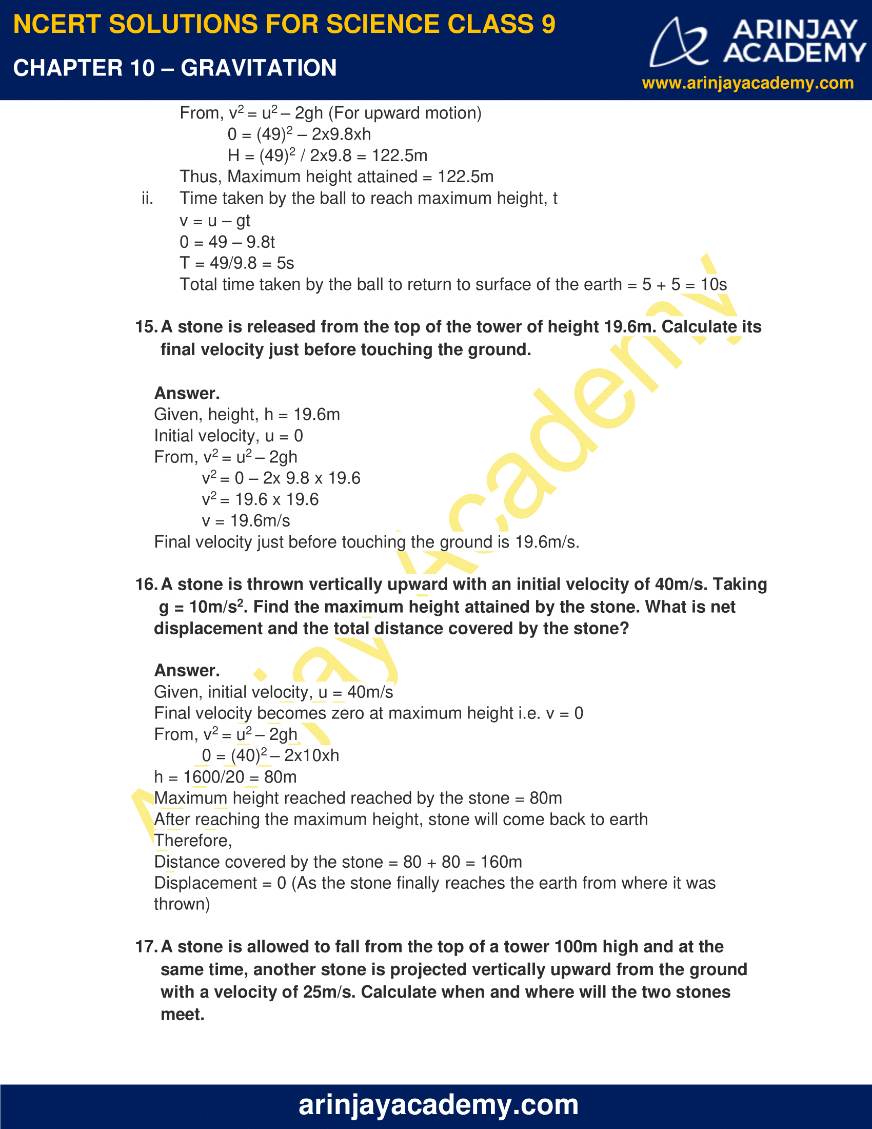NCERT Solutions for Class 9 Science Chapter 10 Gravitation image 7