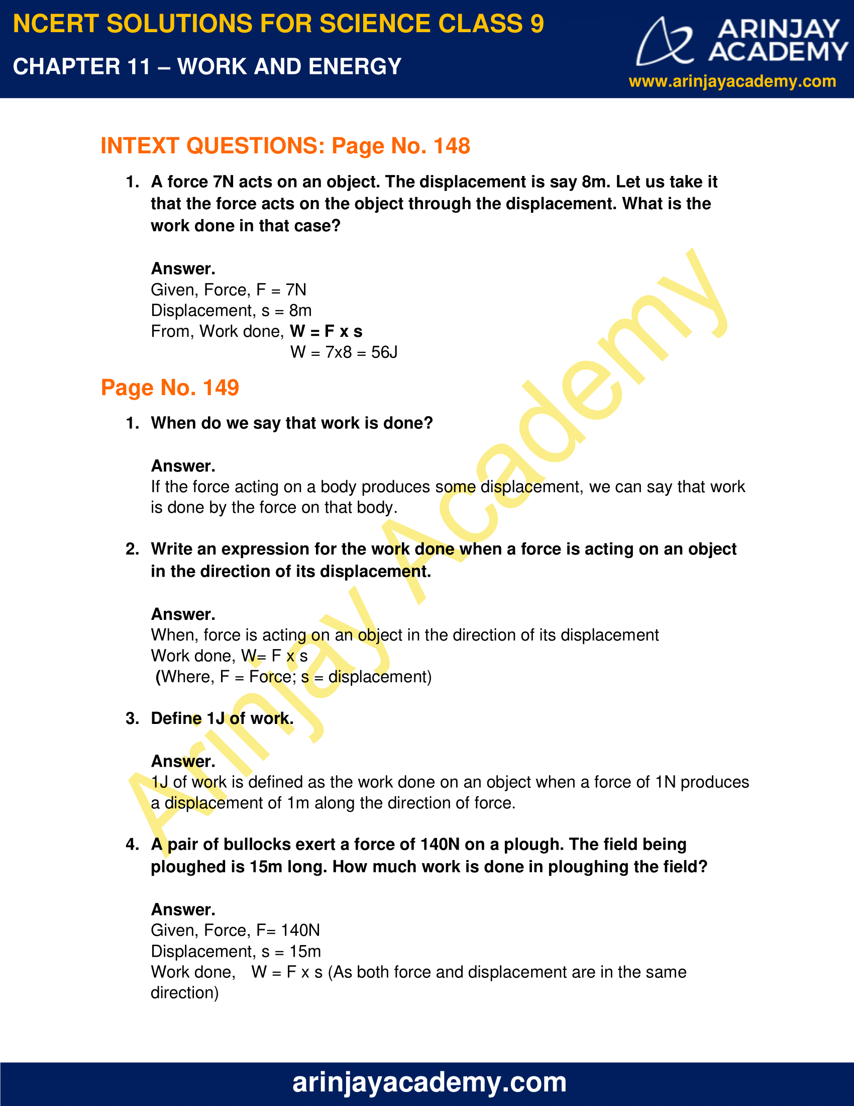NCERT Solutions for Class 9 Science Chapter 11 - Work and Energy image 1