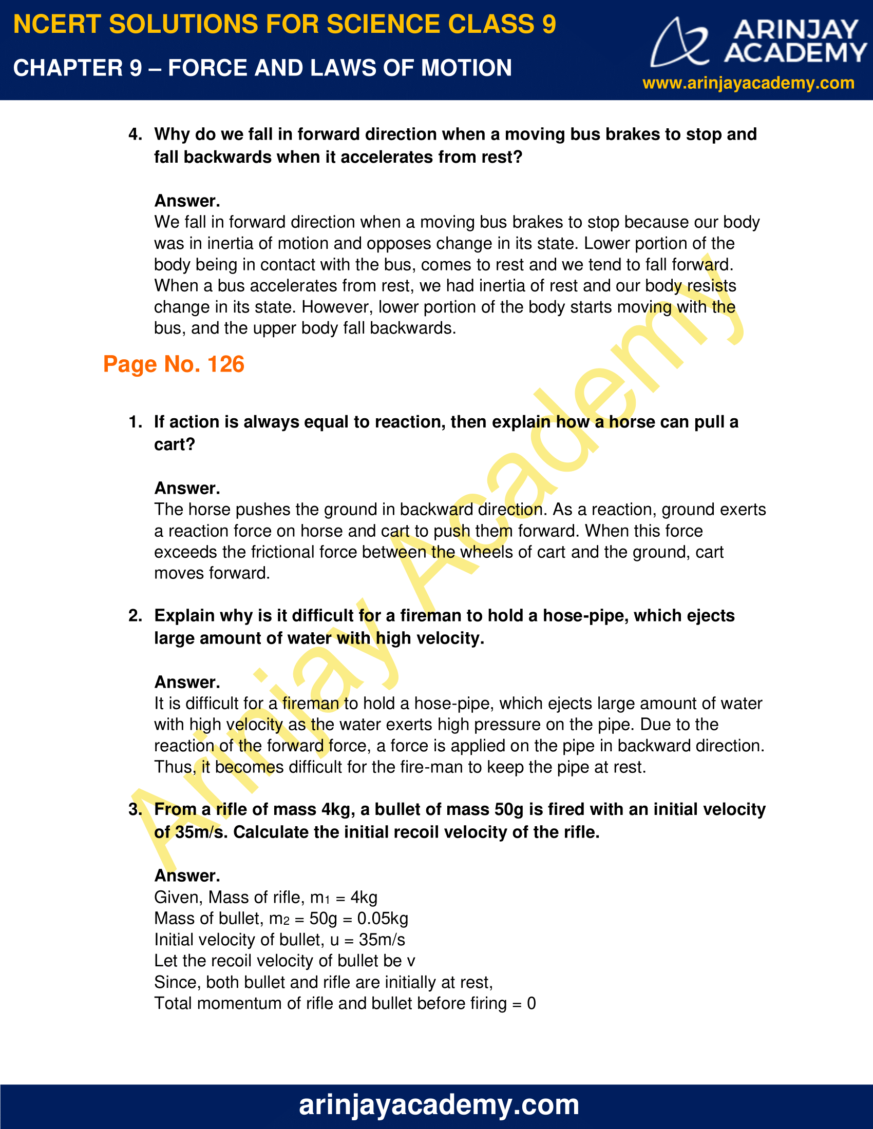 NCERT Solutions for Class 9 Science Chapter 9 - Force and Laws of Motion image 2