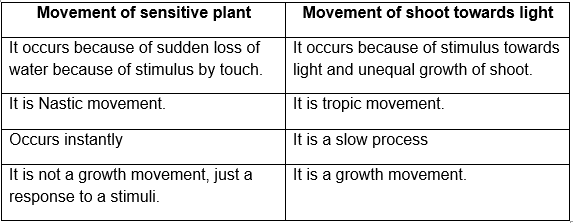 differences between movement of leaves of a sensitive plant and movement of shoot towards light