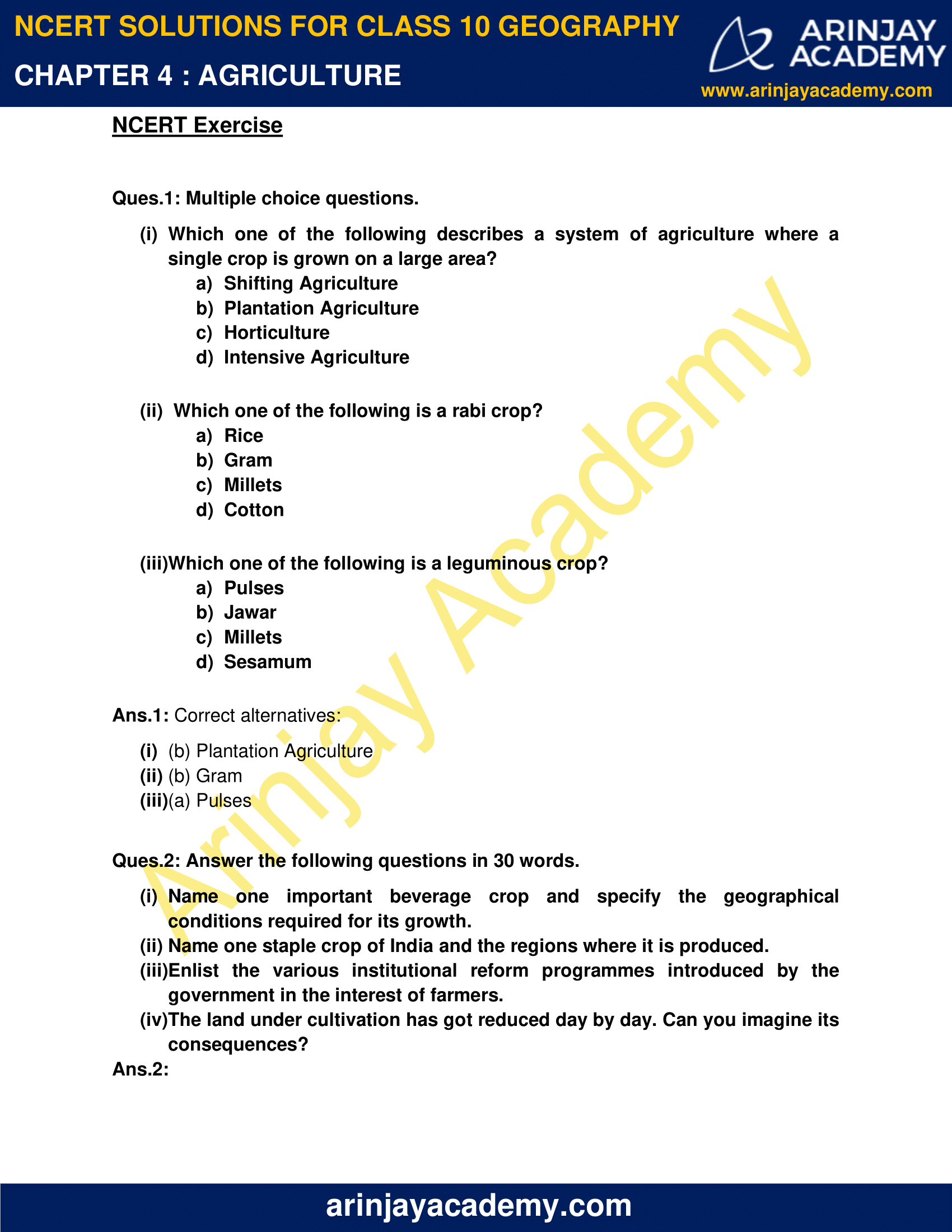 NCERT Solutions for Class 10 Geography Chapter 4 image 1
