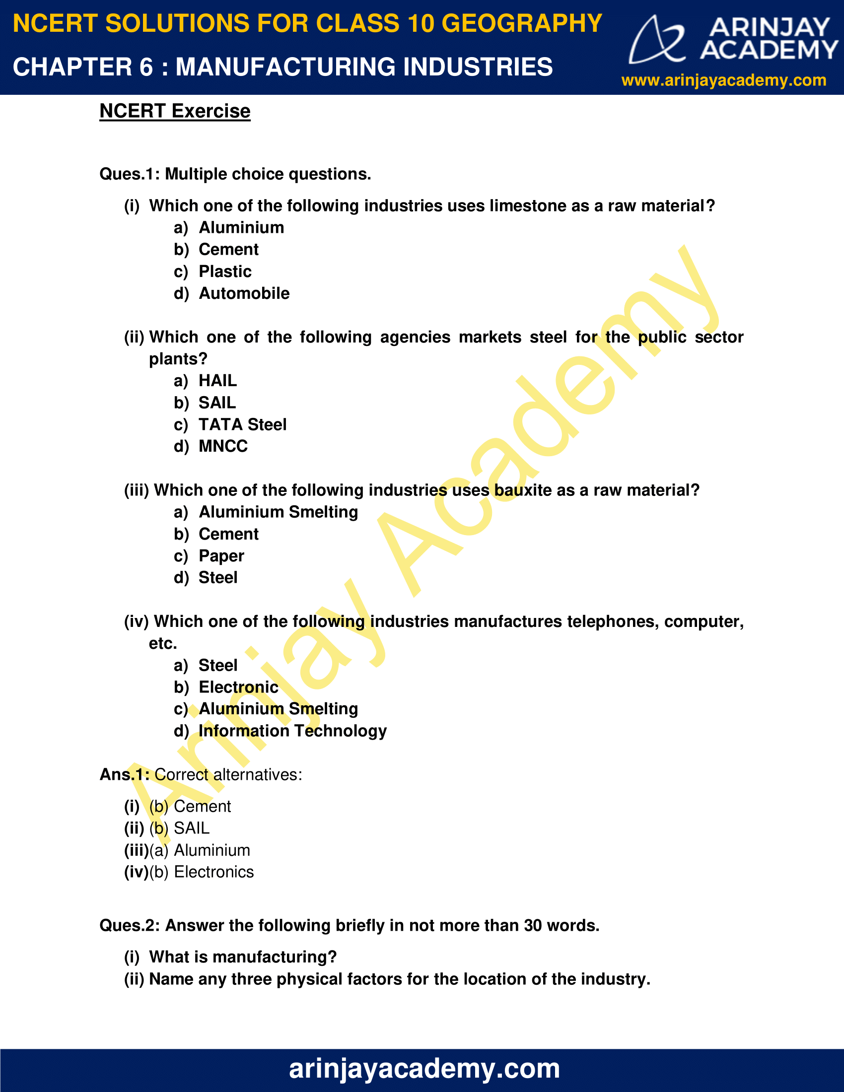 NCERT Solutions for Class 10 Geography Chapter 6 image 1