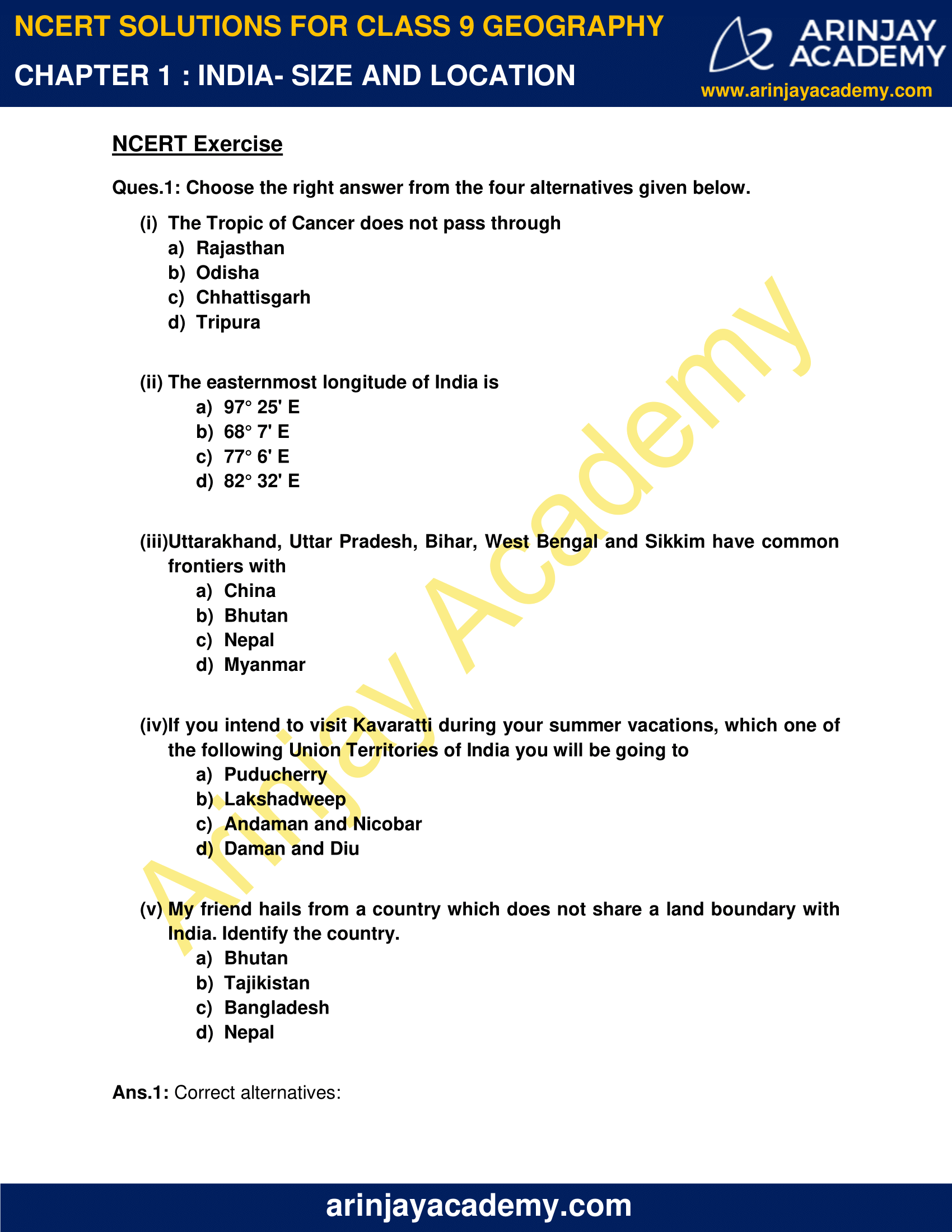NCERT Solutions for Class 9 Geography Chapter 1 image 1