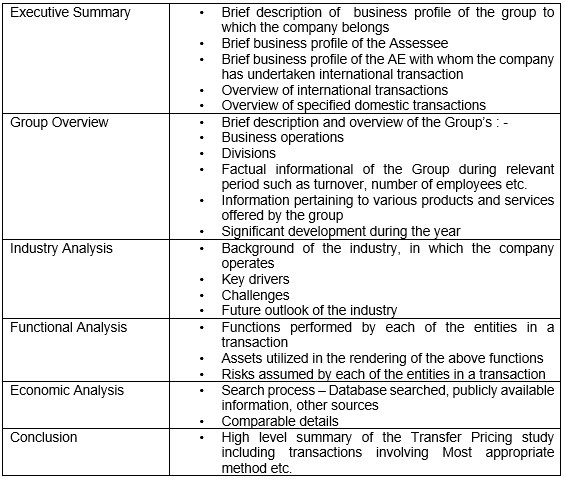 STRUCTURE OF TRANSFER PRICING DOCUMENTATION
